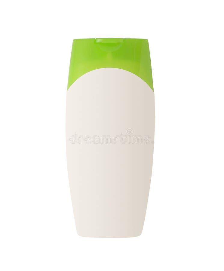 Witte kosmetische container met groen geïsoleerd GLB royalty-vrije stock foto's