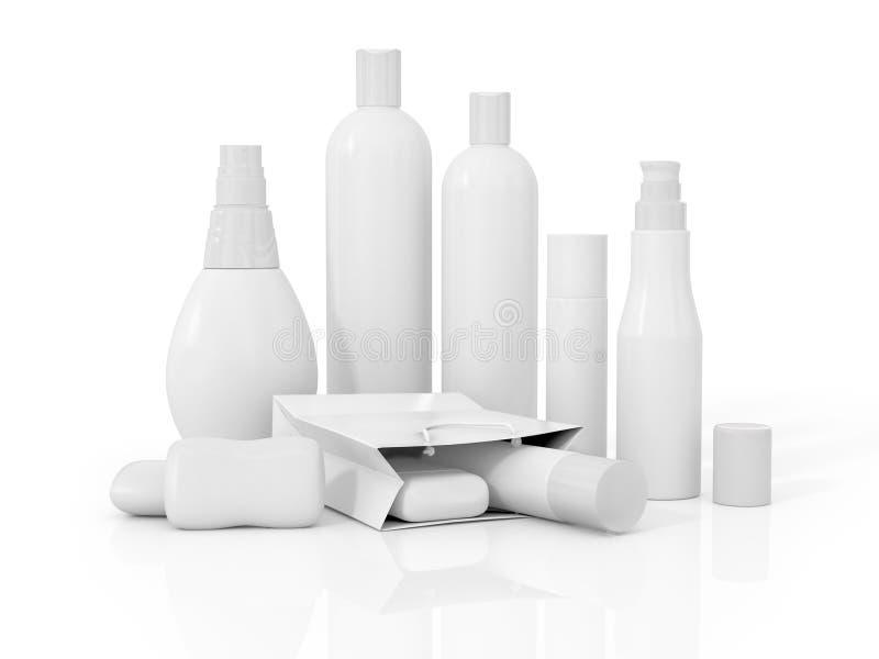 Witte kosmetische containers royalty-vrije illustratie