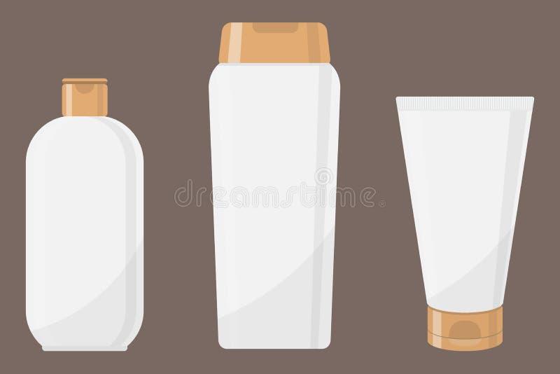 Witte kosmetische flessen in vlakke stijl, Buis, fles, flesje verschillende kosmetische flessen voor geïsoleerd ontwerp, royalty-vrije illustratie