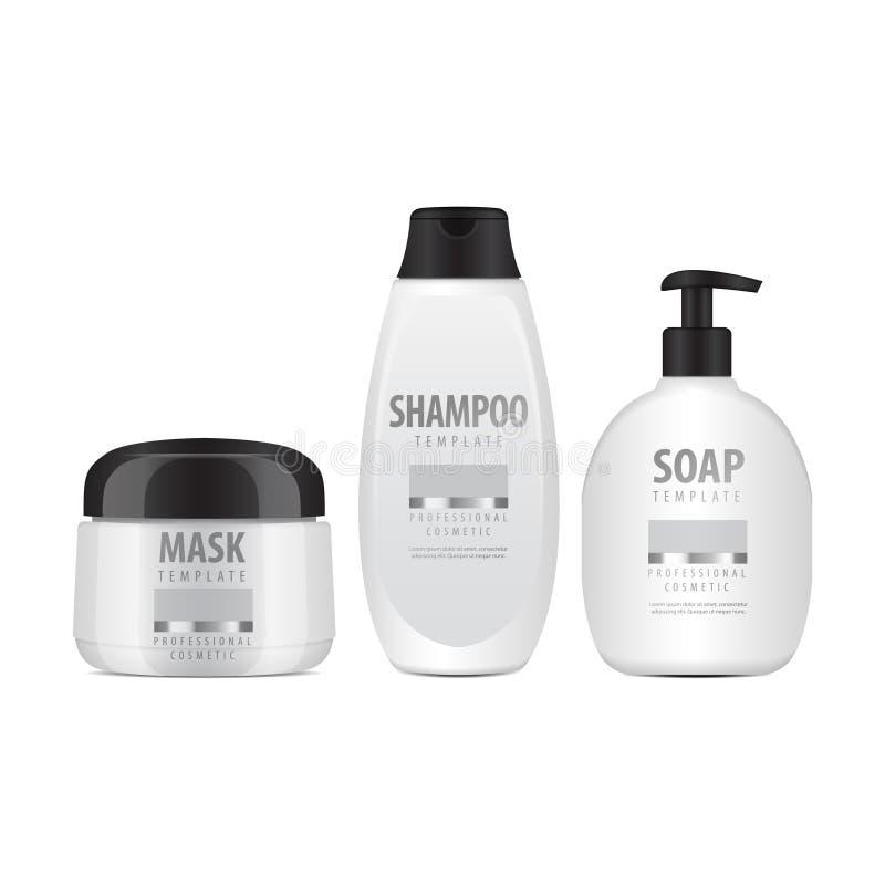 Witte Kosmetische geplaatste Flessen Realistische Buis of Container voor Room, Zalf, Lotion Kosmetisch Flesje voor Shampoo Vector royalty-vrije illustratie