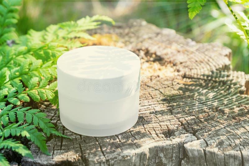 Witte kosmetische kruik in aard onder varens in zonlicht royalty-vrije stock afbeelding