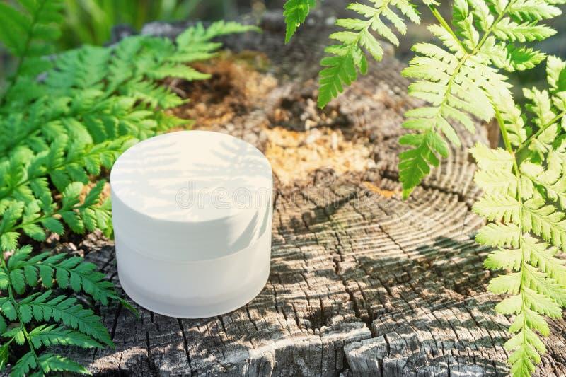 Witte kosmetische kruik in openlucht onder varens in het zonlicht stock afbeelding