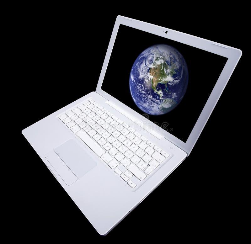 Witte laptop computer die op zwarte wordt geïsoleerd. stock foto