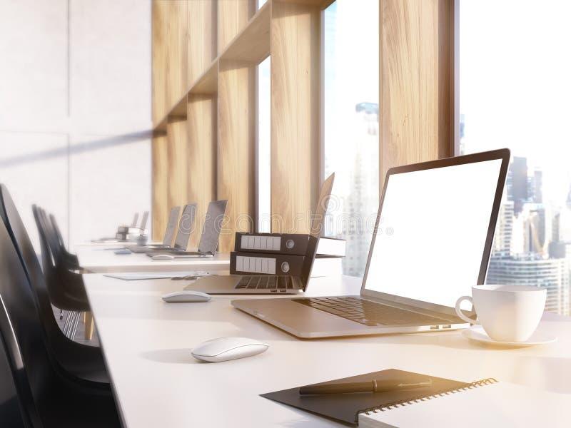 Witte laptop het schermclose-up vector illustratie