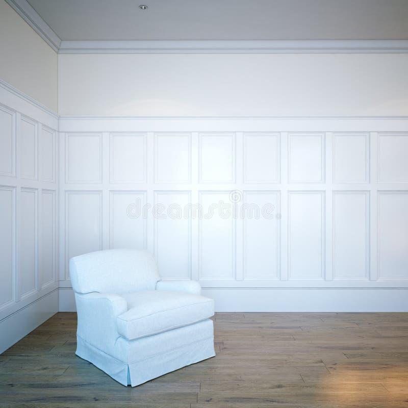 Witte leer klassieke leunstoel in luxe houten binnenlandse ruimte 3 royalty-vrije stock afbeelding