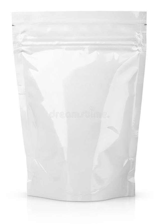 Witte lege folie of plastic sachet met klep en verbinding stock foto's