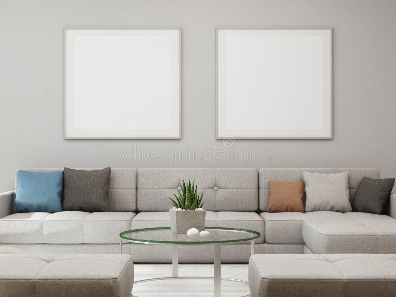 Witte lege kaderspot omhoog op concrete muurachtergrond, Bank en lijst met lege affiche in heldere woonkamer van modern huis royalty-vrije stock afbeeldingen