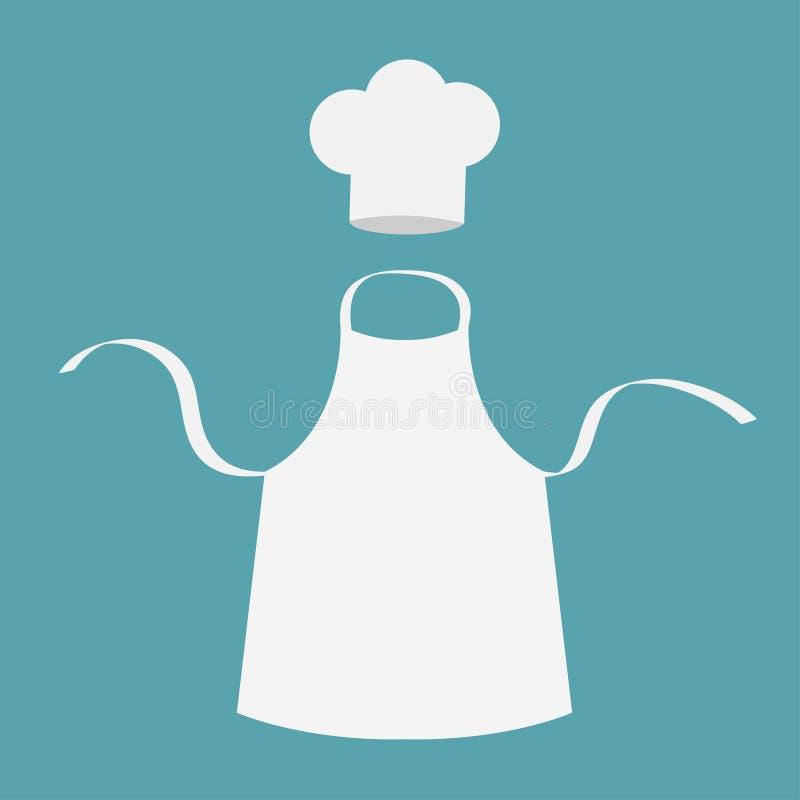 Witte lege keuken katoenen schort Chef-kok Hat eenvormig vector illustratie