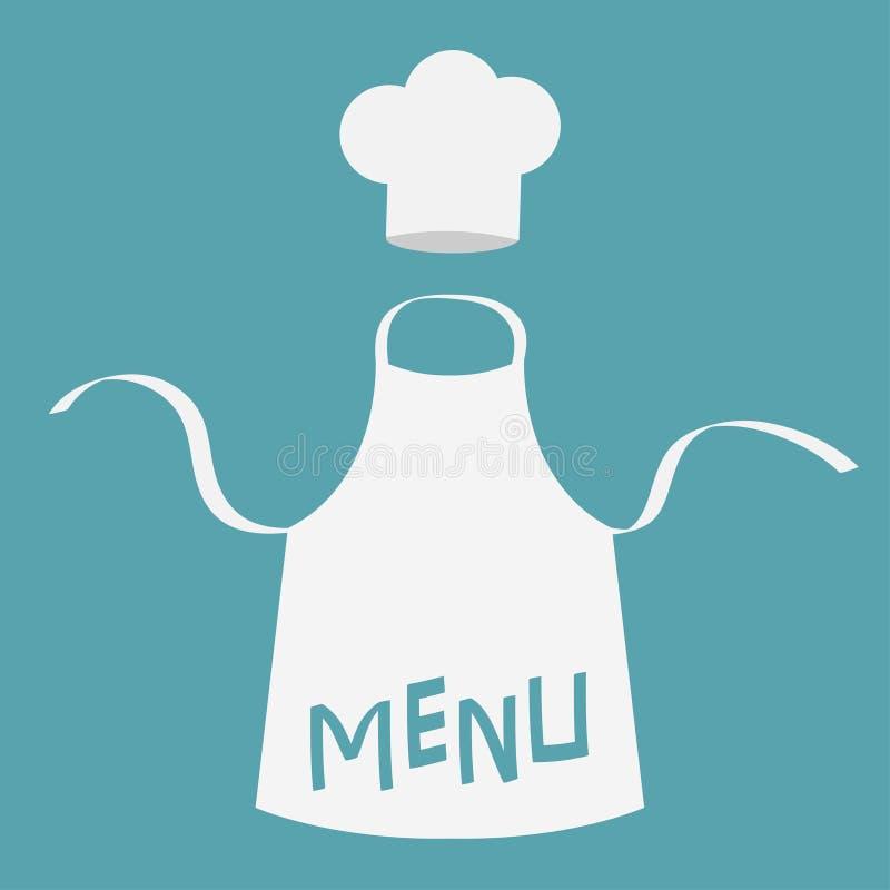 Witte lege keuken katoenen schort Chef-kok Hat Vlakke ontwerpstijl stock illustratie