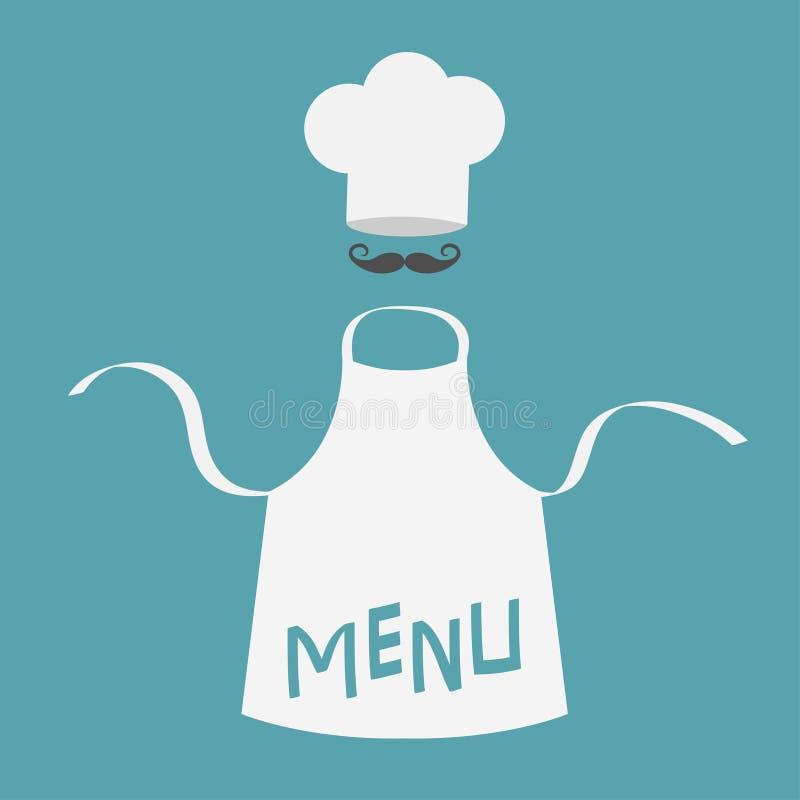 Witte lege keuken katoenen schort Chef-kokhoed en grote snorren het malplaatje van de menukaart Eenvormig voor kok of bakker Het  vector illustratie