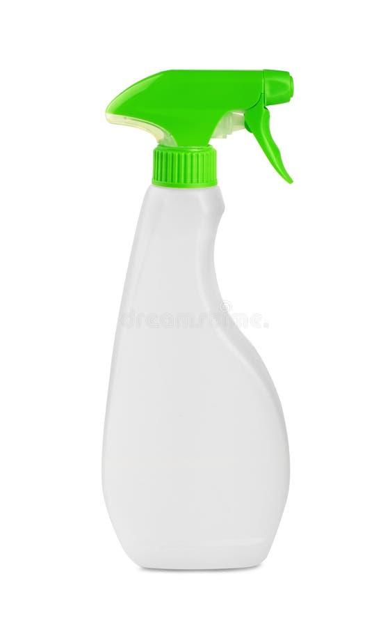 Witte lege plastic nevel detergent fles royalty-vrije stock foto's