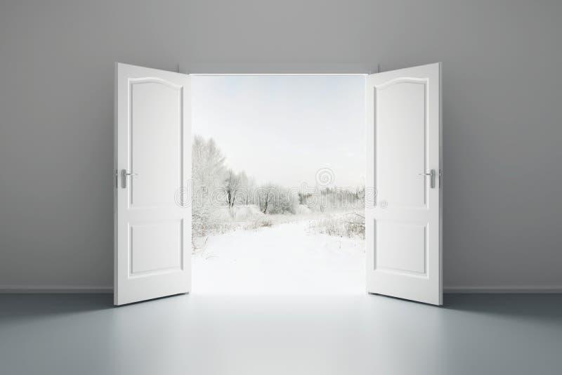 Witte lege ruimte met geopende deur stock illustratie