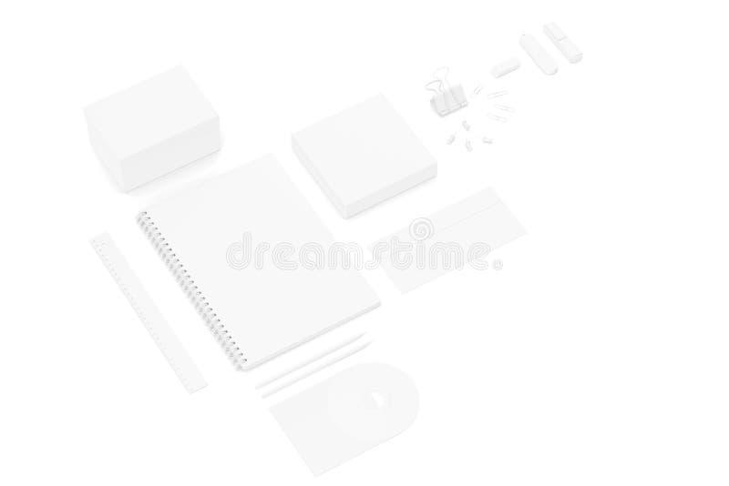 Witte lege uiteindelijke reeks van het malplaatje van drukmaterialen voor het brandmerken van identiteit het 3d teruggeven stock foto's