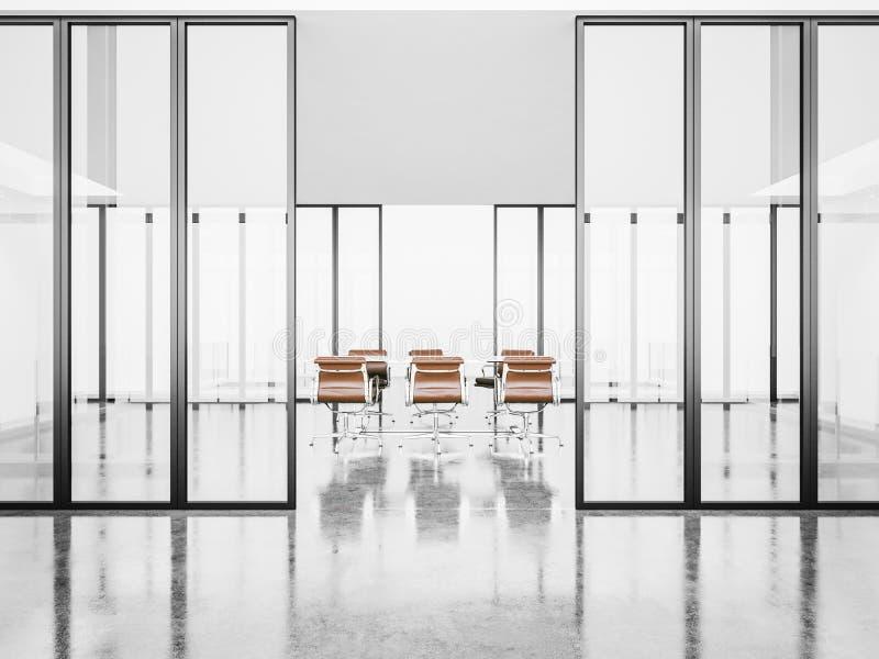 Witte lege vergaderzaal met kristaldeuren 3d stock foto