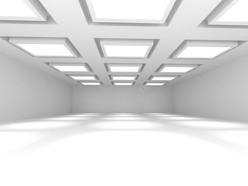 Witte Lege Zaal Binnenlandse Achtergrond stock afbeeldingen