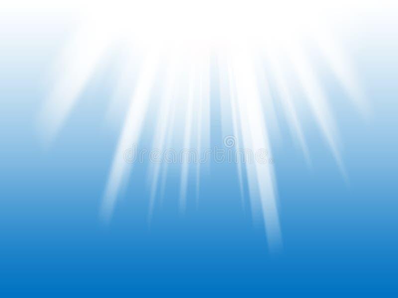 Witte lichte stralen de blauwe achtergrond stock illustratie