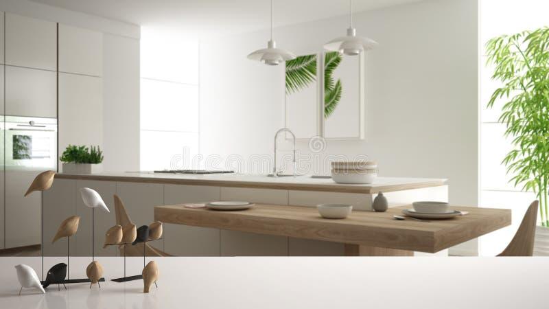 Witte lijstbovenkant of plank met minimalistic vogelornament, vogeltje knick - handigheid over vage eigentijdse witte en houten k royalty-vrije illustratie
