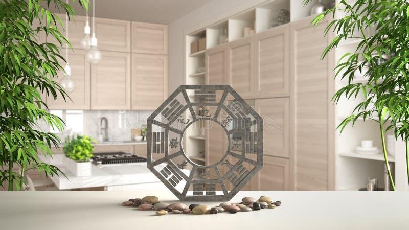 Witte lijstplank met bagua, kiezelsteensteen en bamboeinstallaties, moderne witte en houten keuken in eigentijdse flat, zen royalty-vrije illustratie