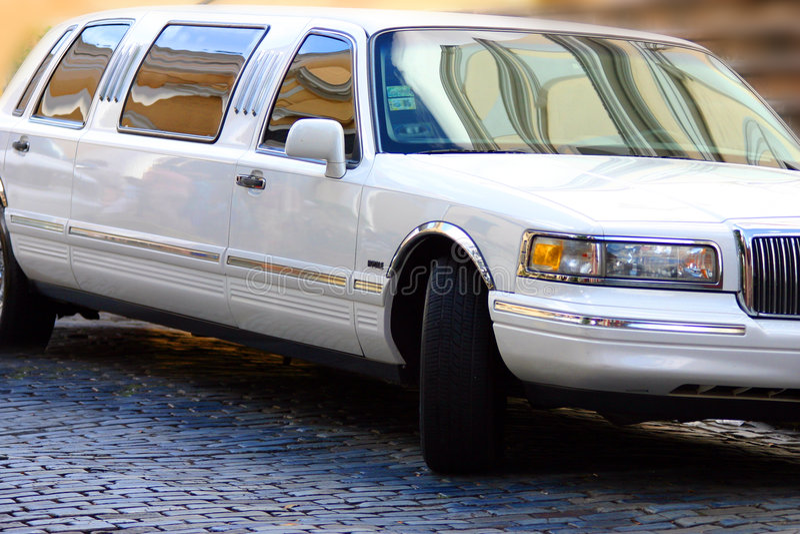 Witte limousine stock foto