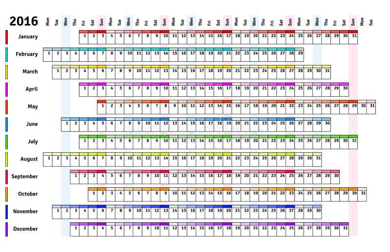 Witte lineaire kalender 2016 royalty-vrije illustratie