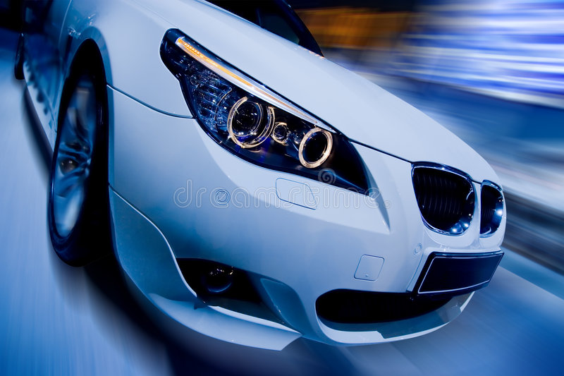 Witte luxeauto stock foto