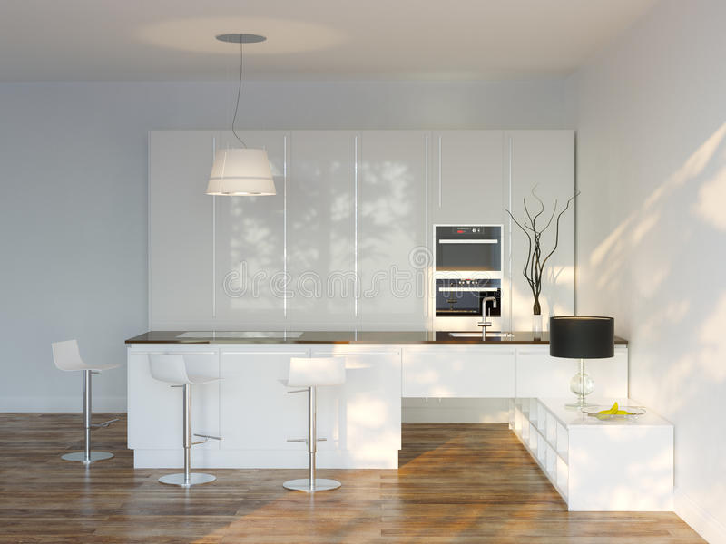 Witte Luxehi-tech Keuken met Bar (Front View) stock fotografie