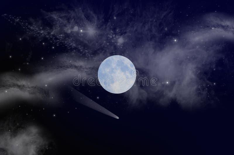 Witte maan met melkachtige manier in diepe ruimte royalty-vrije stock fotografie