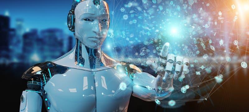Witte mannelijke humanoid gebruikend het digitale globale netwerk 3D teruggeven royalty-vrije illustratie