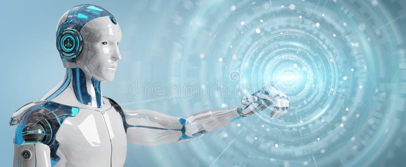Witte mannelijke humanoid gebruikend het digitale globale netwerk 3D teruggeven vector illustratie