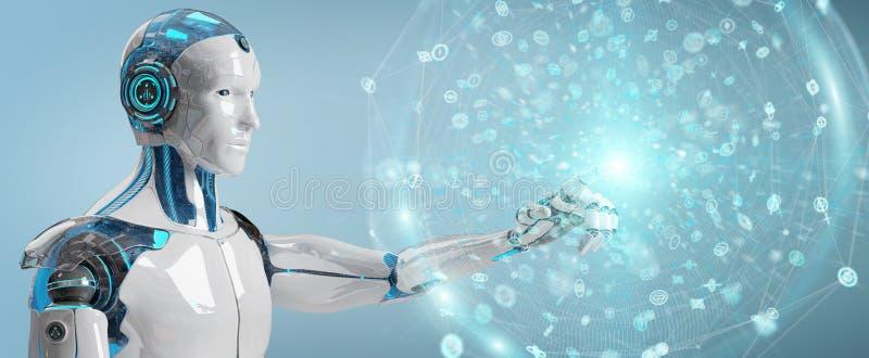 Witte mannelijke humanoid gebruikend het digitale globale netwerk 3D teruggeven stock illustratie