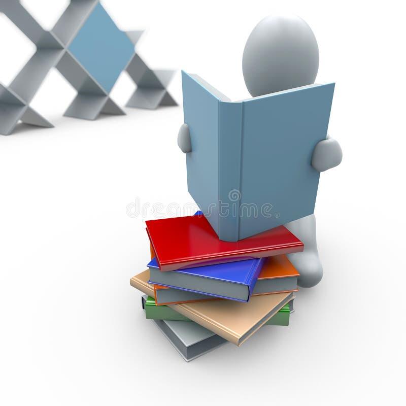 Witte marionet met in hand boek en boekenkast op achtergrond vector illustratie