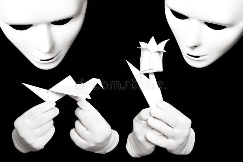 Witte masker en origami royalty-vrije stock foto's