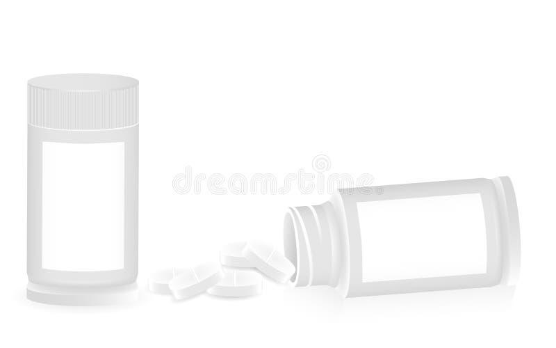 Witte medische containers en pillen op een witte achtergrond royalty-vrije illustratie