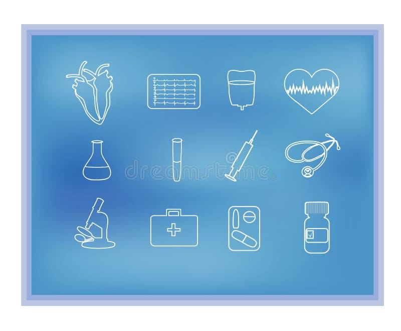 Witte medische lineaire pictogrammen op de blauwe achtergrond cardiologie Een hart cardiogram Stethoscoop, spuit, geneeskunde royalty-vrije illustratie
