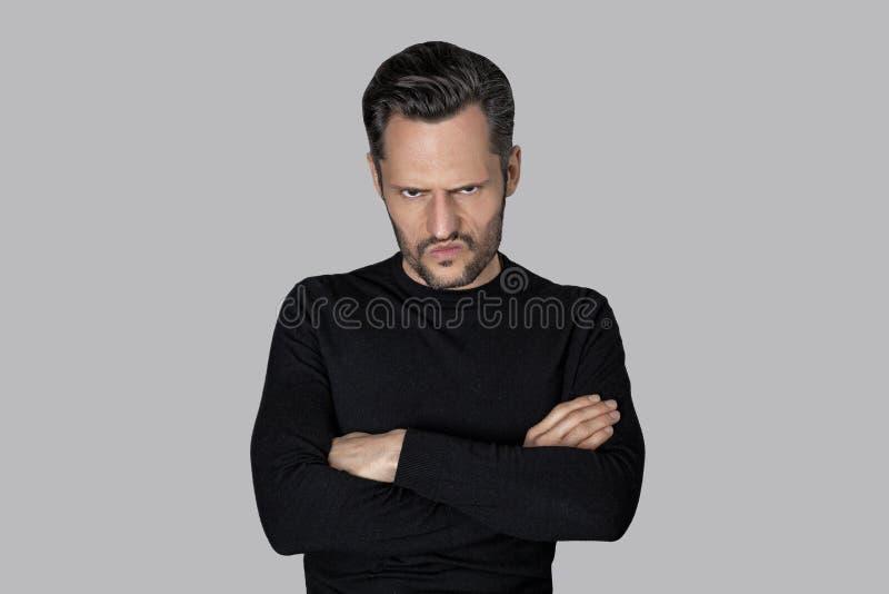 Witte mens met een boos gezicht royalty-vrije stock fotografie