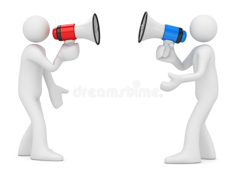 Witte Mens twee die door Megafoon schreeuwen stock illustratie