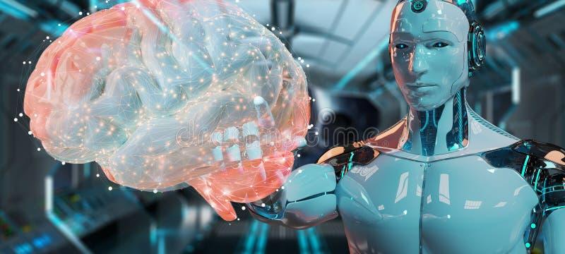 Witte mensenhumanoid die kunstmatige intelligentie tot het 3D teruggeven leiden vector illustratie