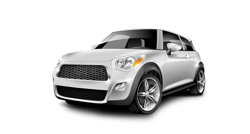 Witte Metaal Generische Compacte Kleine Auto op Witte Achtergrond met Geïsoleerde Weg stock illustratie