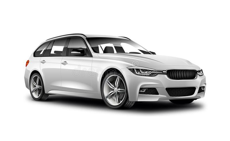 Witte Metaal Generische Universele Auto op Witte Achtergrond met Geïsoleerde Weg stock illustratie