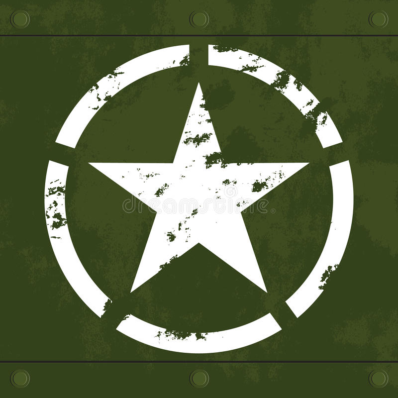Witte militaire ster op groen metaal vector illustratie