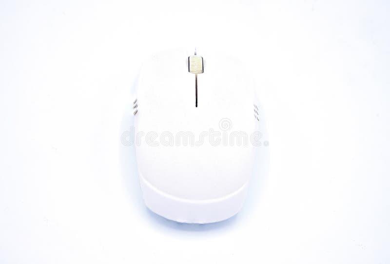 Witte mini draadloze muis die op witte achtergrond wordt geïsoleerd stock afbeelding