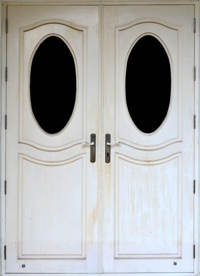Witte moderne houten deur stock foto