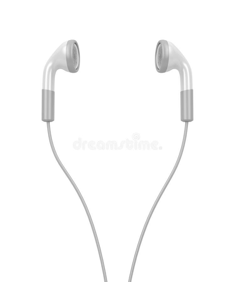 Witte moderne oortelefoons royalty-vrije illustratie