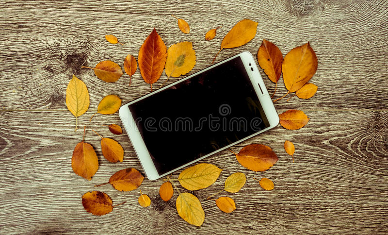 Witte moderne tabletpc met het lege lege scherm op rustieke uitstekende houten achtergrond met de herfst gaat weg stock afbeelding