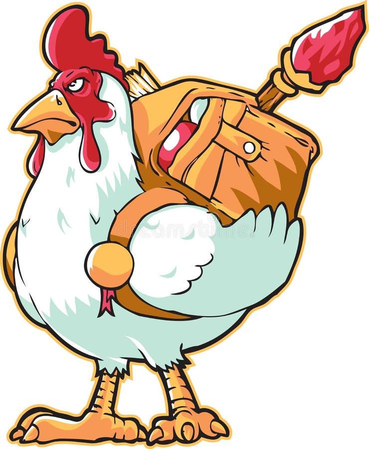 Witte moedige kip vector illustratie