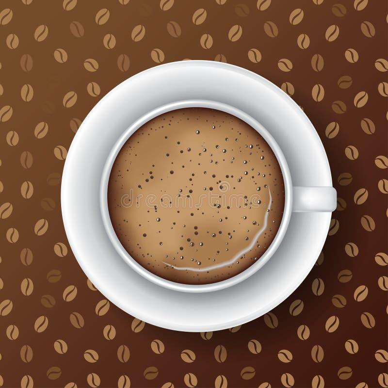 Witte mok koffie met schotel stock illustratie