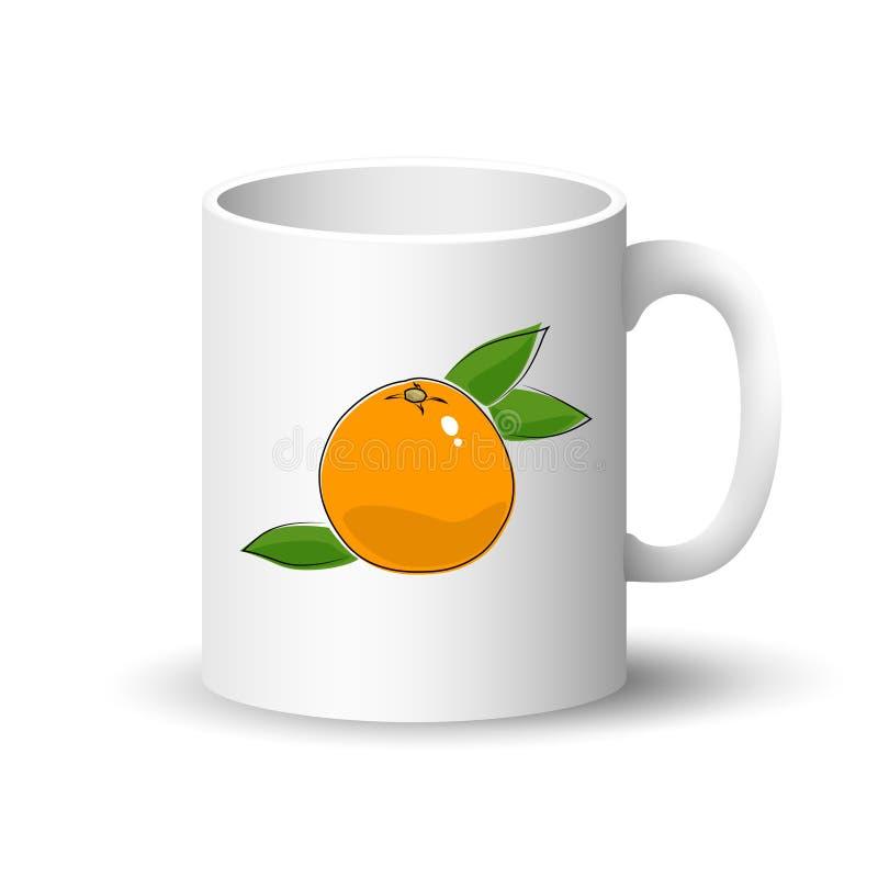 Witte mok met grapefruit stock illustratie