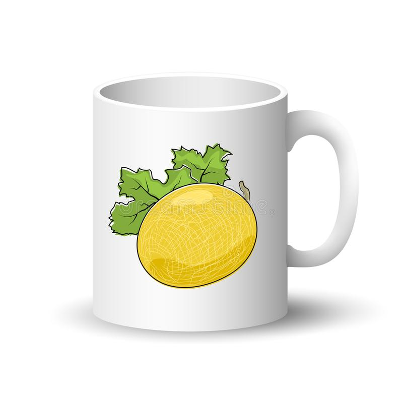 Witte Mok met Meloen vector illustratie