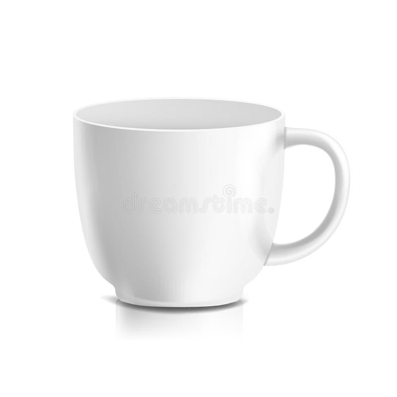 Witte Mokvector 3D Realistische Ceramische Koffie, Theekop op Wit De klassieke Spot van de Bureaukop omhoog met Handvat vector illustratie