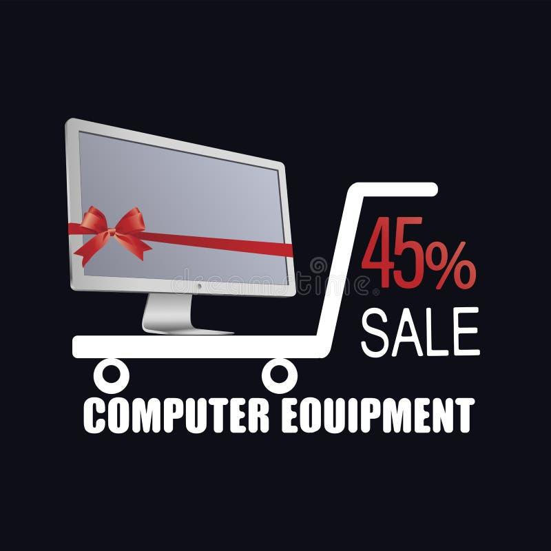 Witte monitor met rode lint en boog De Apparatuur van de computer Verkoop vector illustratie